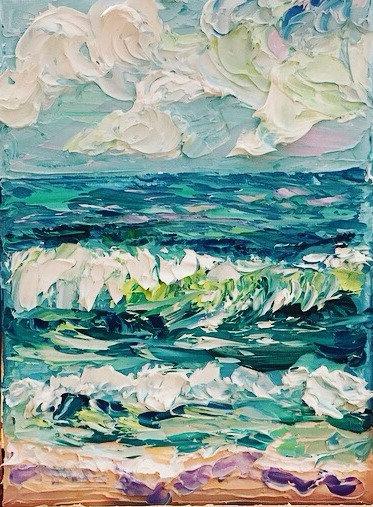 """Blissful Shores 2"" Original Oil Painting-5x7"