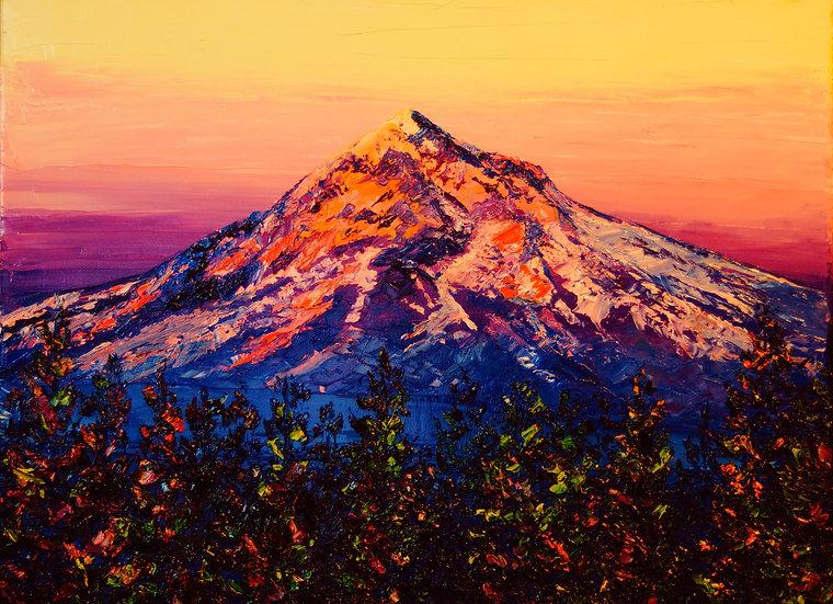 """Mt. Hood at Sunset"" Oil on Canvas - 20x16"