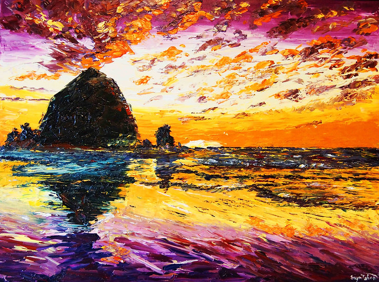 """Haystacks at Sunset"""