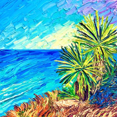 Torrey Palms. Oil on Canvas. 12x12. Eryn