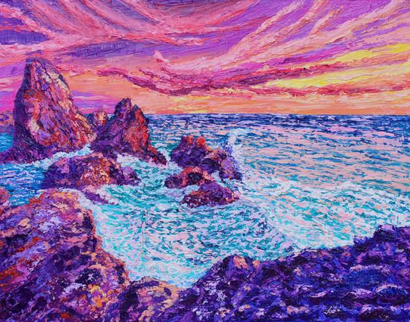 Thrashing Waves. 24x30. Oil on canvas. E