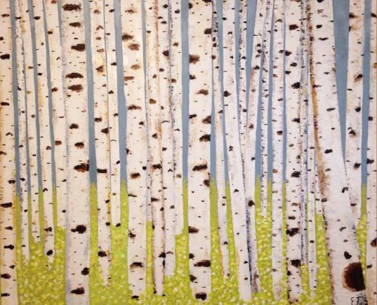 Spring Aspens. 48x60 Oil on Canvas