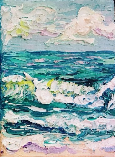 """Blissful Shores 3"" Original Oil Painting-5x7"