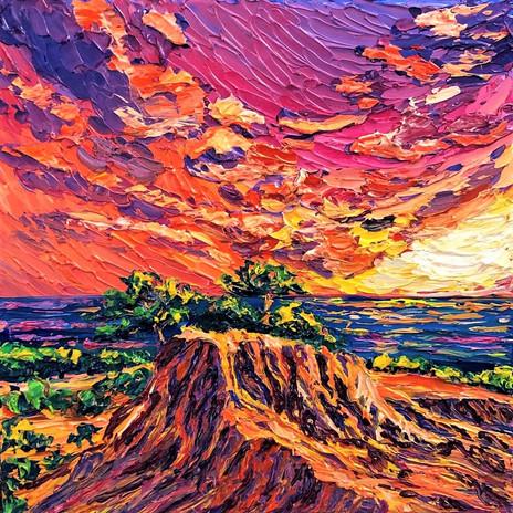 Sunset at Broken Hill. Oil on canvas.12x