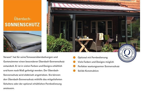 Zubehör KMB-Terrassendach Überdach Sonnenschutz