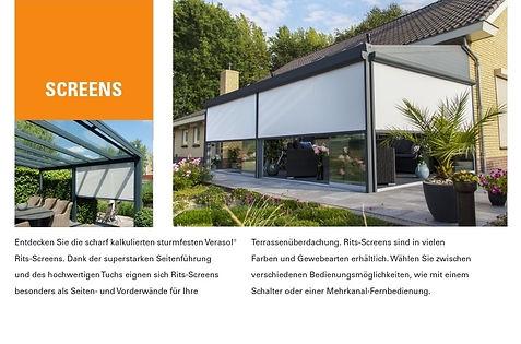 Zubehör KMB-Terrassendach  Screens seitlicher Sonnenschutz