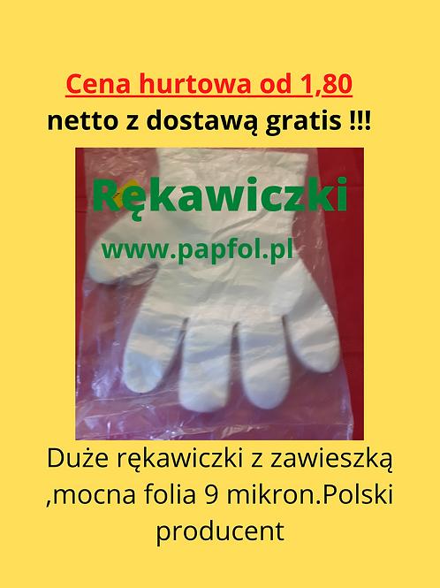 Rękawiczki foliowe HDPE zrywki jednorazowe