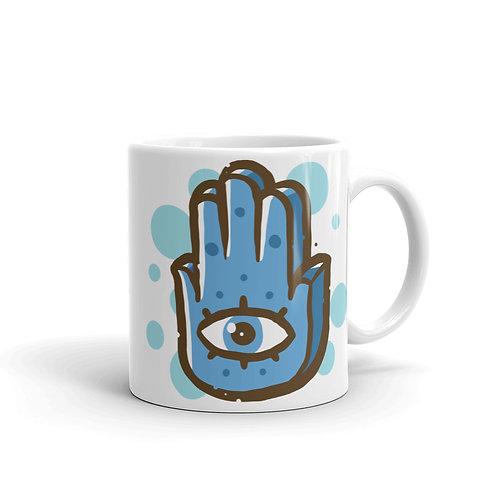 Blue Hand - White Glossy Mug - خمسة و خميسة