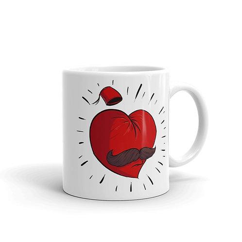 Mustache Love - White Glossy Mug - حب أبو شنب