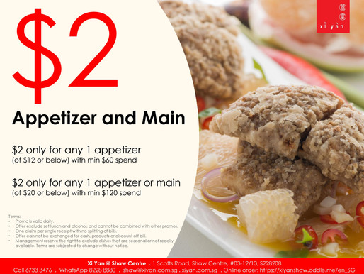 $2 dish appetizer and main