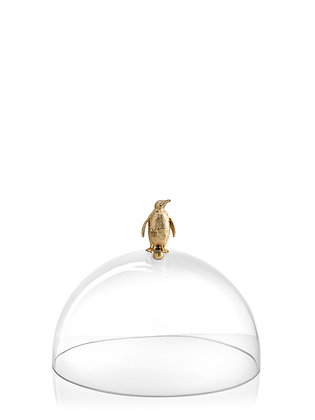 VERTIGO cloche en verre avec pommeau pingouin en métal