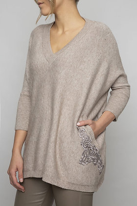 Pull Beige Brodé