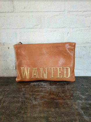 Pochette cuir naturel Wanted