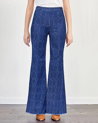 Jeans large à motifs