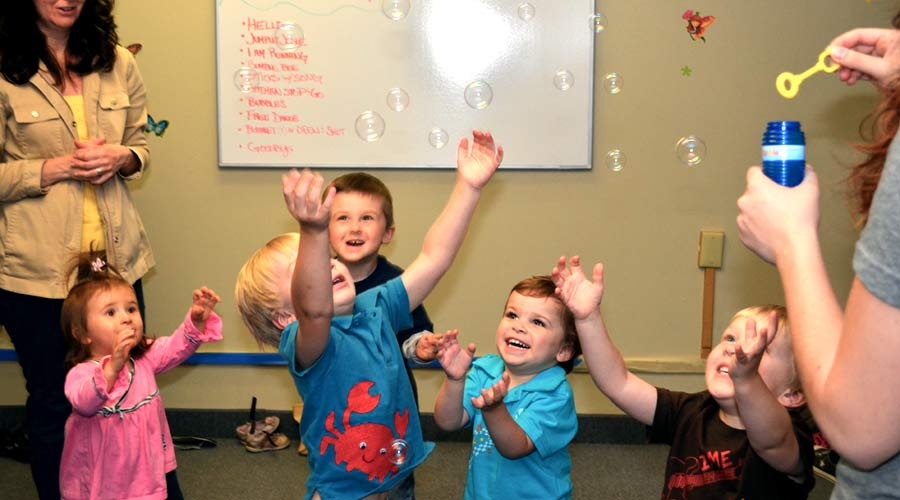 Bubbles! in toddler class