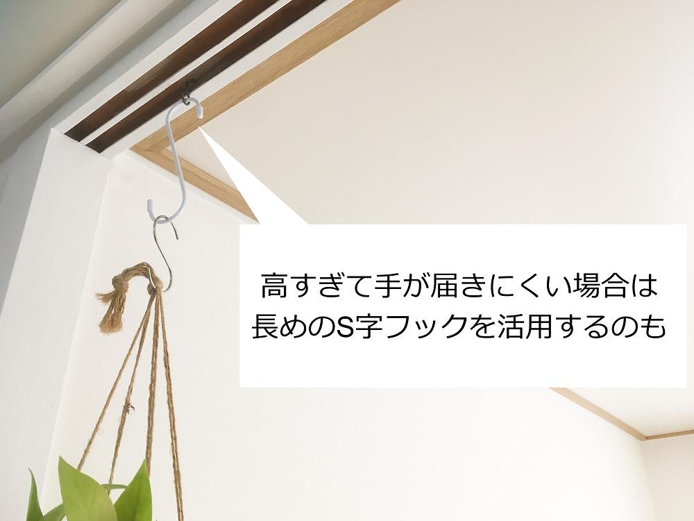 洋灯フックを活用した植物のハンギング