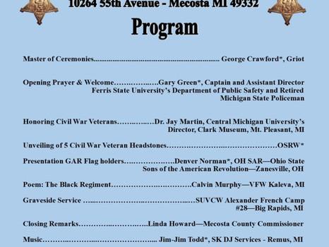 Unveiling 5 Civil War Veteran Headstones – Sunday, August 18, 2019