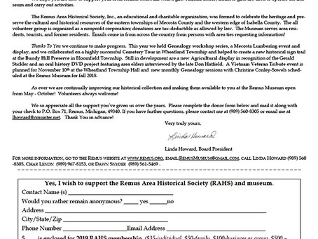 Remus Area Historical Society Annual Appeal Letter