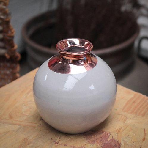 Vasinho decorativo cinza e cobre