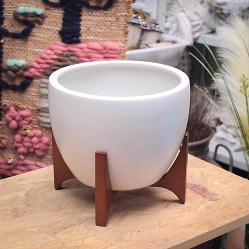 Vaso de cerâmica com suporte