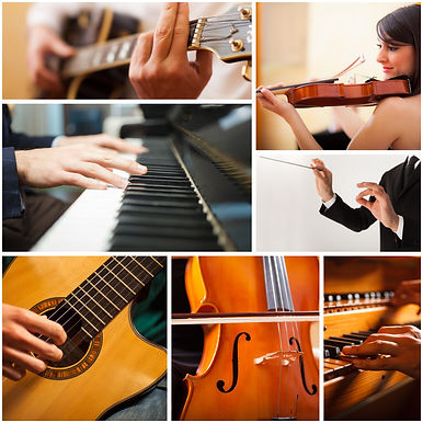 Images of people playing musical instrum