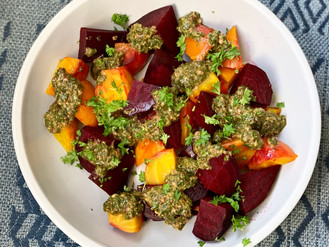 ROASTED BEETS OVER RICOTTA WITH BEET GREEN PESTO