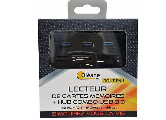 Lecteur de carte mémoire + HUB combo USB 3.0