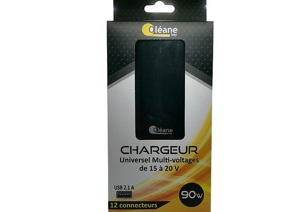 Chargeur Universel Multi-voltages 90W Noir