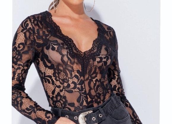 Black Sexy Lace Bodysuit