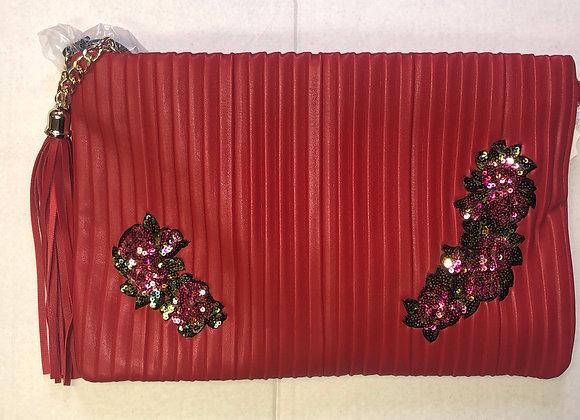 Red Pleats Handbag