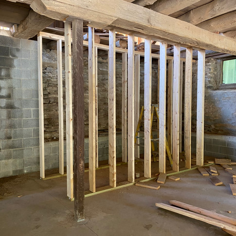 From the lower level of the barn, this is where the stairs will be leading to.