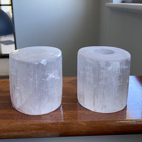 Selenite Tealight Candle Holders - Large (set of 2)