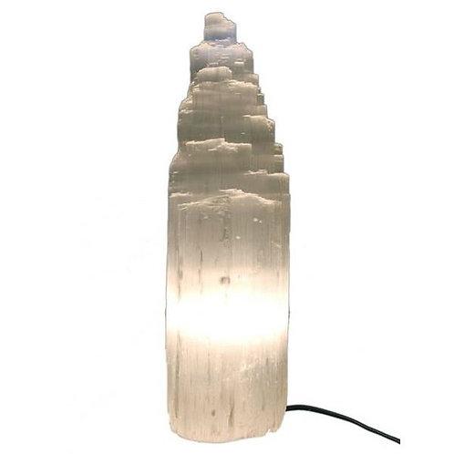 Selenite Tower Lamps - approx 36cm