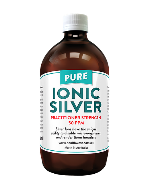 Ionic Silver Practitioner Strength 50PPM (glass bottle), 500ml