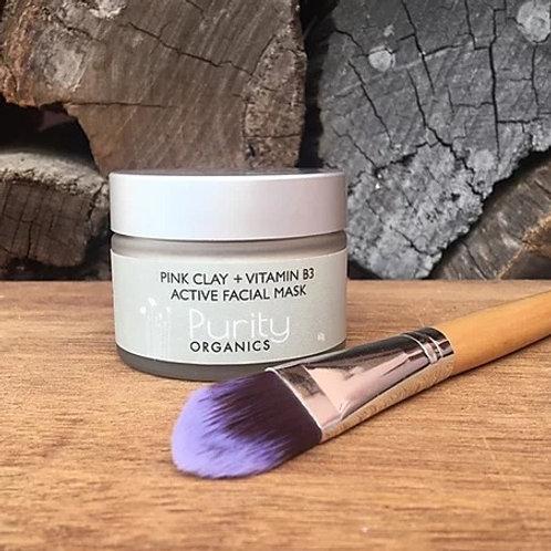 Purity Organics Pink Clay + Vitamin B3 Active Facial Mask - 60g
