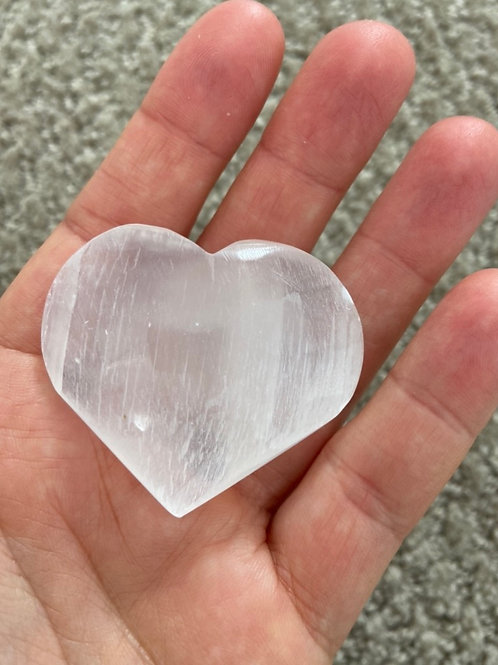 Selenite Puffy Heart Polished - 4cm