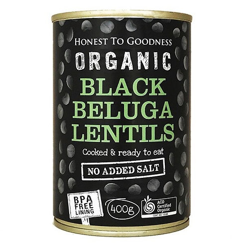 Organic Black Beluga Lentils 400g - BPA Free (Cooked)
