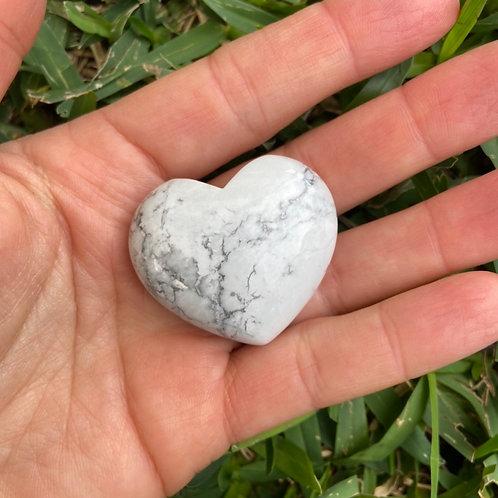 White Howlite Heart Palm Stone