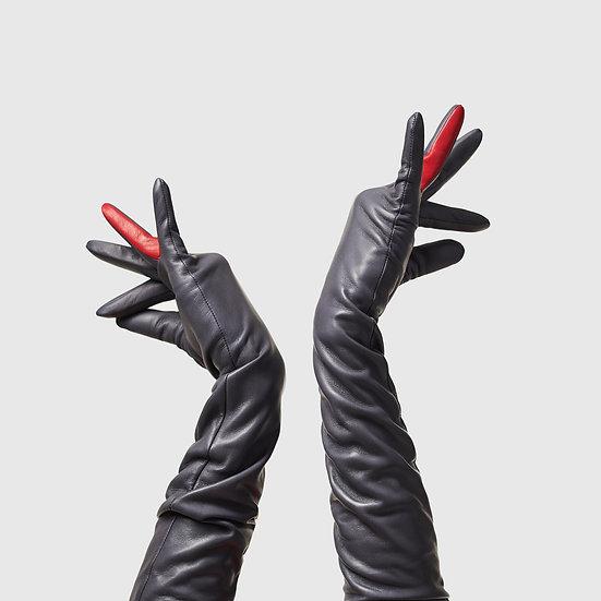 SG rukavičky dlouhé č.04 - tmavě šedá / červená
