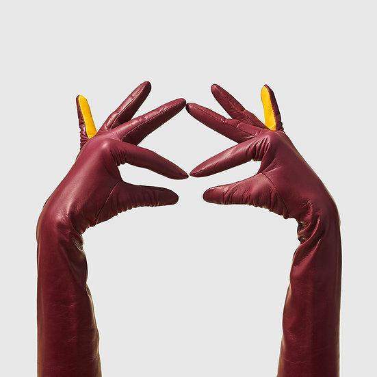 SG rukavičky dlouhé č.02 - bordó / žlutá