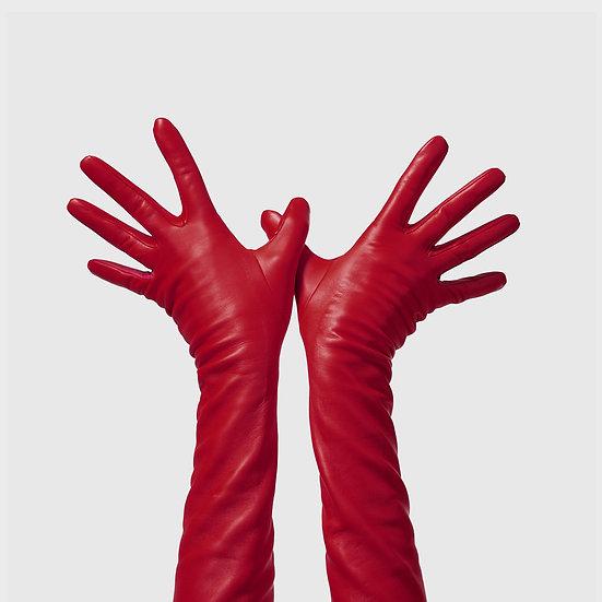 SG rukavičky dlouhé č.08 - tmavě červená / sytě růžová