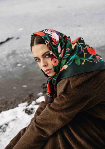 šátek Šípková Růženka zima