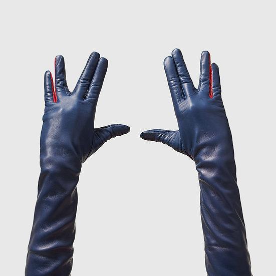 SG rukavičky dlouhé č.07 - tmavě modrá / červená