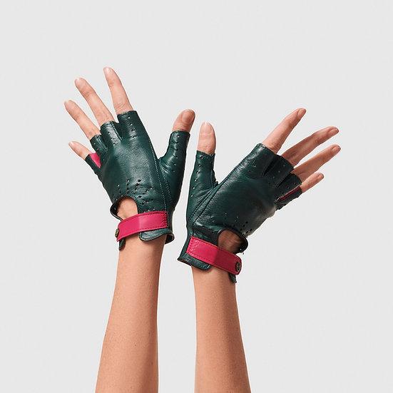 SG rukavičky bezprsté č.05 - tmavě zelená / sytě růžová