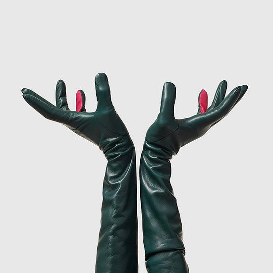 SG rukavičky dlouhé č.05 - tmavě zelená /růžová