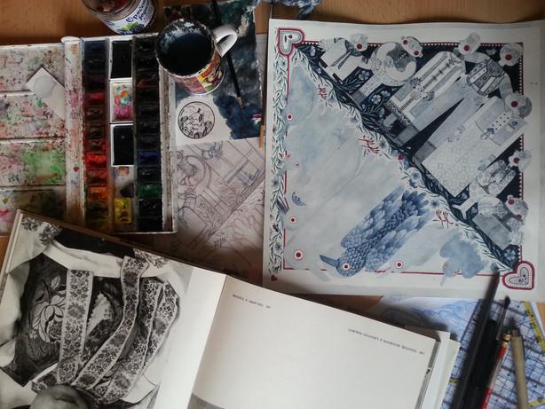 Rozpracovaný akvarelový návrh pro Sedmero krkavců 2 / Work at watercolour artwork for Seven ravens 2