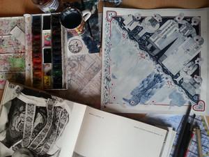 Work at watercolour artwork for Seven ravens 2