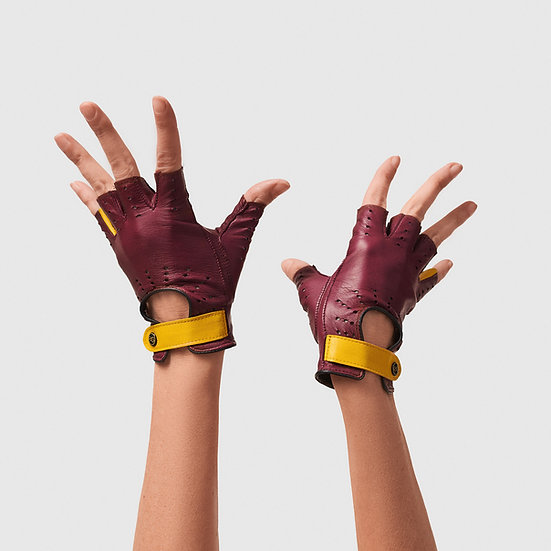 SG rukavičky bezprsté č.02 - bordó / žlutá