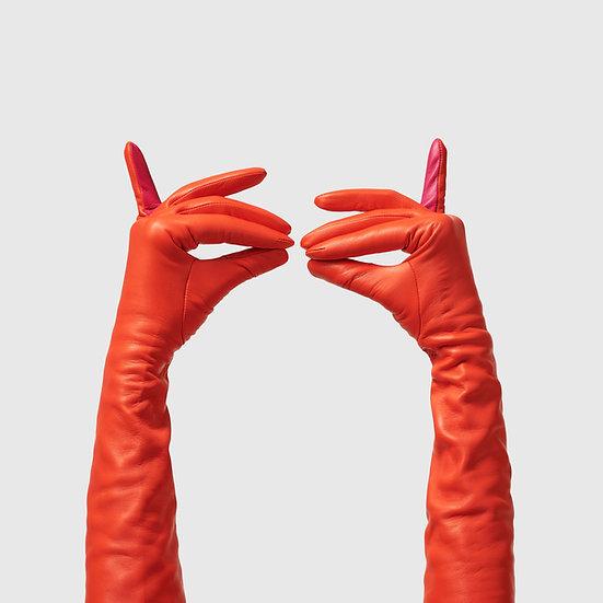 SG rukavičky dlouhé č.01 - oranžová / sytá růžová