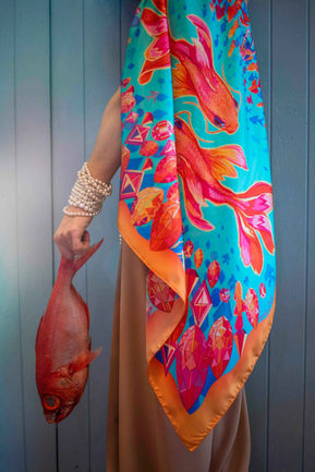 scarf golden fish with fish
